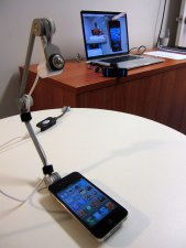The participant's view of the device and recording equipment.