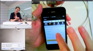 The video output, the device view with a 'picture-in-picture' view of the participant holding the device.